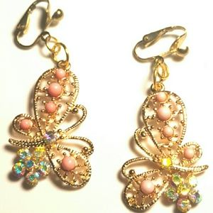 """1.5"""" Gold Clips Crystal PinkButterfly Dangle Clips"""
